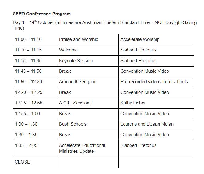 Educators conference day 1 program